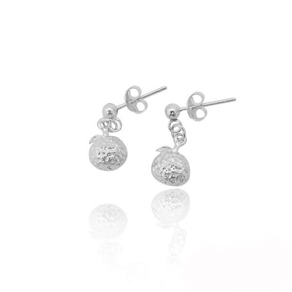 小橘子造型耳針純銀耳環推薦|925銀飾 純銀耳環推薦