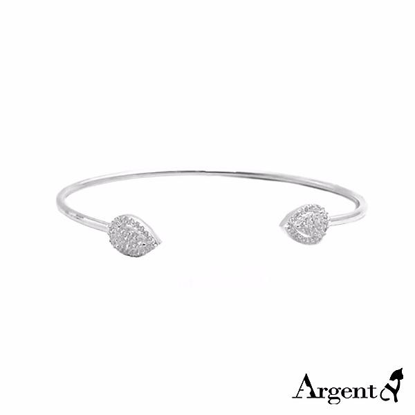 晶鑽水滴(白K金)造型活圍純銀手環|925銀飾 純銀手環