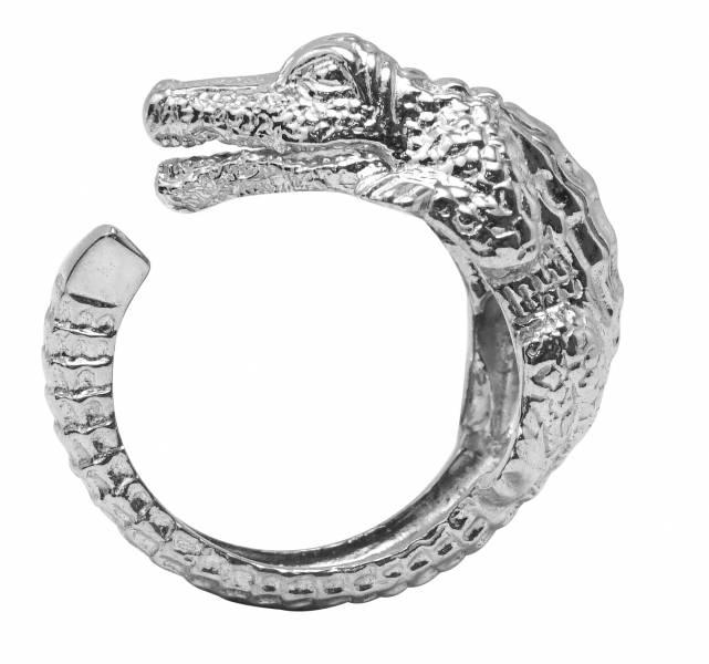 鱷魚動物造型雕刻純銀戒指|戒指推薦 動物戒指