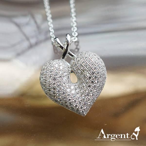「閃耀之心(白K金)」純銀項鍊銀飾|銀項鍊推薦 銀項鍊推薦