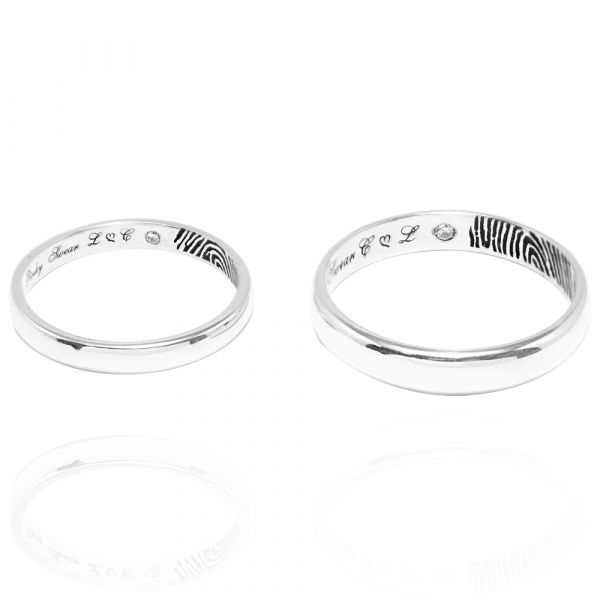 藏愛永恆指紋刻字(藏鑽內圍刻指紋)純銀對戒|客製化訂做對戒深刻指紋(一對價)(此為單指紋含刻字) 指紋戒指
