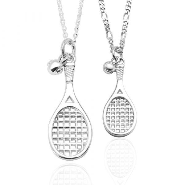 網球拍(大+小)造型純銀項鍊銀飾|銀項鍊推薦(一對價) 網球拍