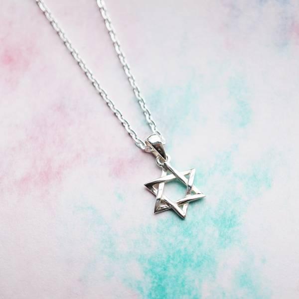 「六芒星(大/小)」造型純銀項鍊|銀項鍊推薦