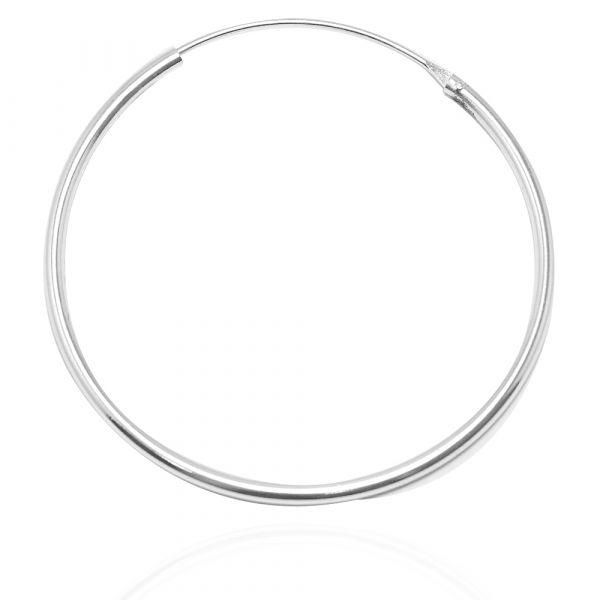 素雅圓形(45mm)耳針純銀耳環推薦|925銀飾 圈圈耳環