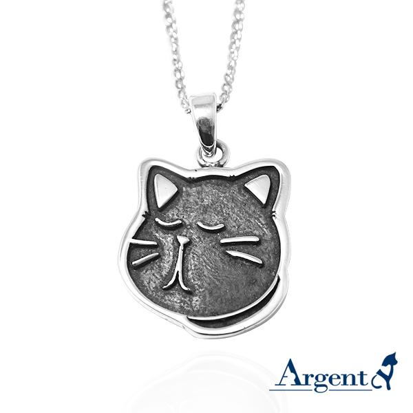 黑貓(小黑)-(染黑/琺瑯)平面造型動物純銀項鍊銀飾|安爵貓系列銀項鍊推薦 貓項鍊