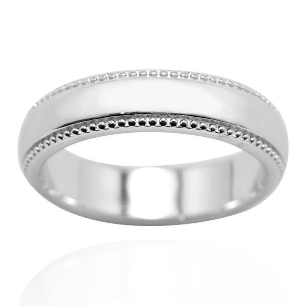 「浪漫滾珠(男5mm)14K金(單色白K金)戒指推薦(單只價) 訂婚戒指推薦