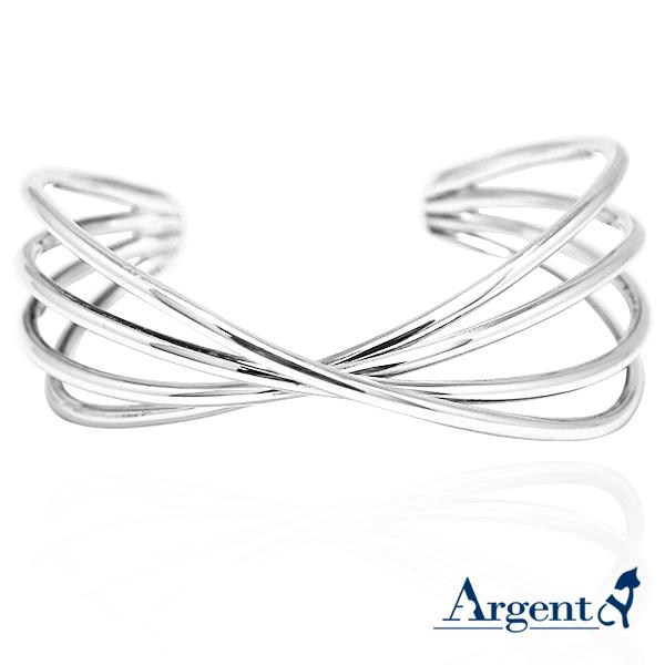 交纏造型寬版銀手鐲純銀手環|925銀飾 純銀手環