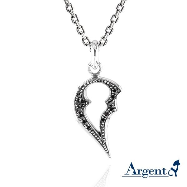 黑鑽「心戀」造型項鍊銀飾|銀項鍊推薦 銀項鍊推薦