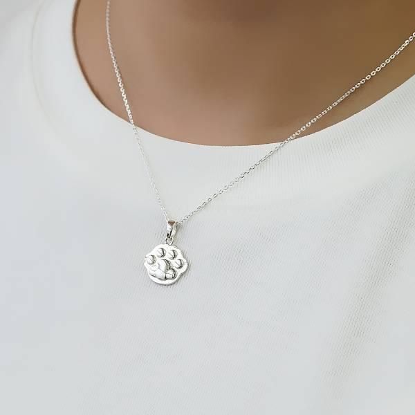 貓掌(中)可愛雕刻純銀項鍊銀飾 銀項鍊推薦 銀項鍊推薦