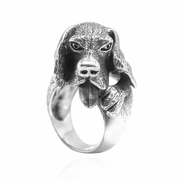 吐舌狗 動物造型雕刻純銀戒指|戒指推薦 純銀動物戒指