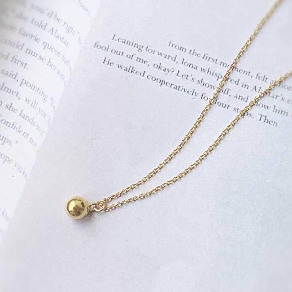 「許願球」簡約金球 14KGF 鎖骨鍊 包金項鏈 ,注金項鏈,金球項鏈,14KGF 金球項鏈
