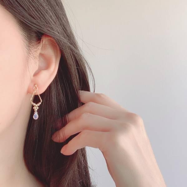 水滴 月光石14K注金 耳環 耳夾