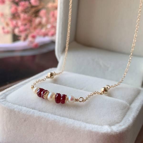 「7月誕生石」卡利撒果實 紅寶石項鍊 美國14K包金,注金