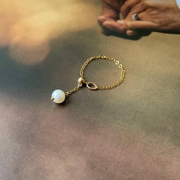 「雪球」 珍珠 14K注金 鏈戒