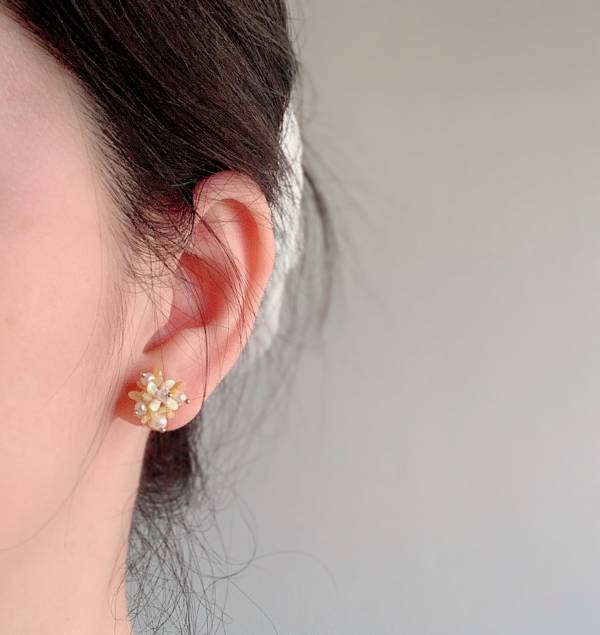 黃色繡球  14KGF 耳環 耳針 耳夾 珍珠耳環 ,珍珠注金項鏈,包金珍珠,注金珍珠,14KGF珍珠項鏈