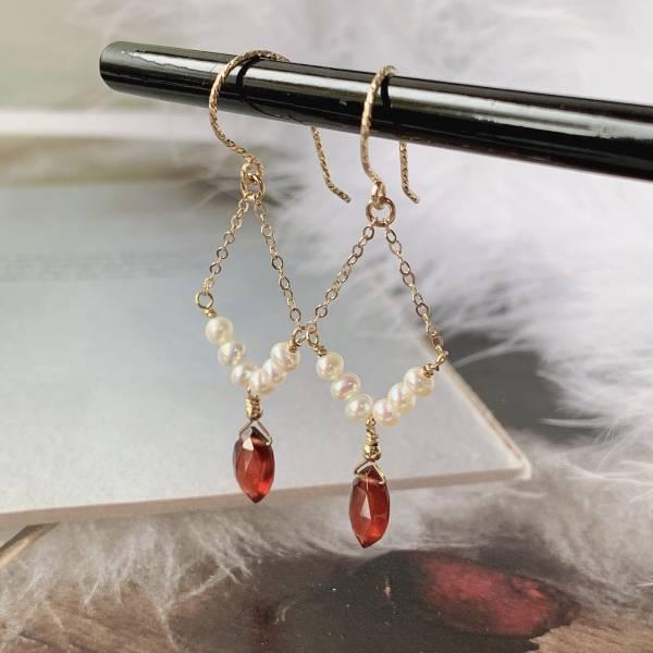 1月誕生石 14K 注金 石榴石 珍珠 耳環  耳夾