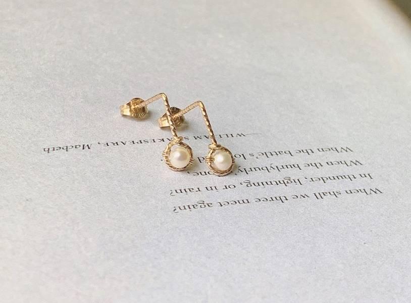 超級小珍珠  美國14K注金 耳環 粉晶耳環,粉晶,天然石耳環,包金,注金