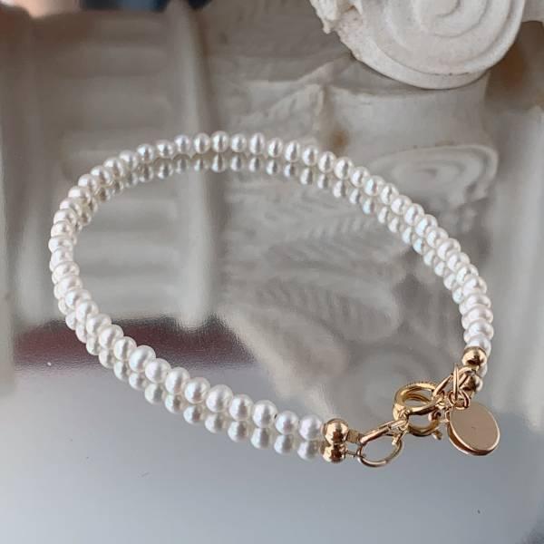 「6月誕生石」稀有精緻 小珍珠手環 14K 注金手環 跨時代的經典不敗款   不過,採用單顆2m迷你天然小珍珠  整個特別小巧可愛   整圈小珍珠,適合正式場合、也適合日常穿搭喔