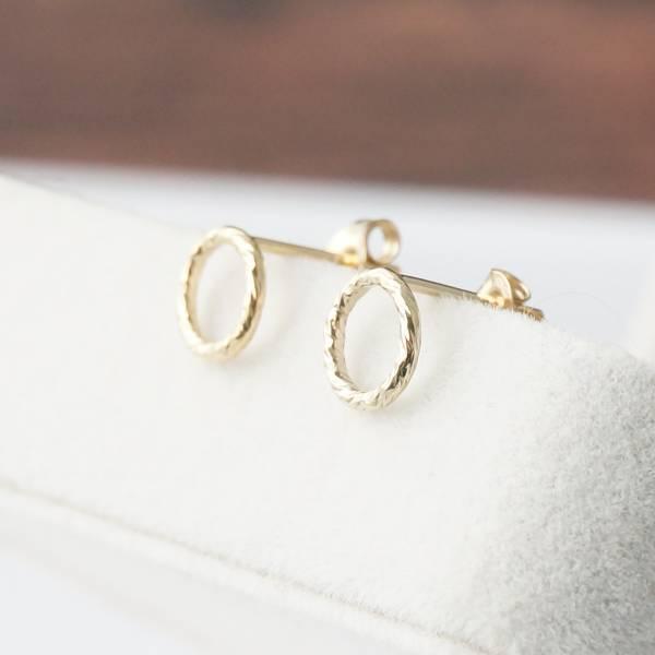 燦金圈圈 14KGF 貼耳針 金珠耳環 ,注金 小金珠耳環,包金耳環,14KGF耳環,14KGF貼耳環