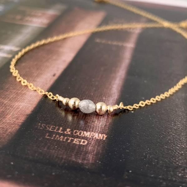 「4月誕生石」 天然灰鑽 14K注金  項鏈 鑽石,藍鑽,天然鑽石