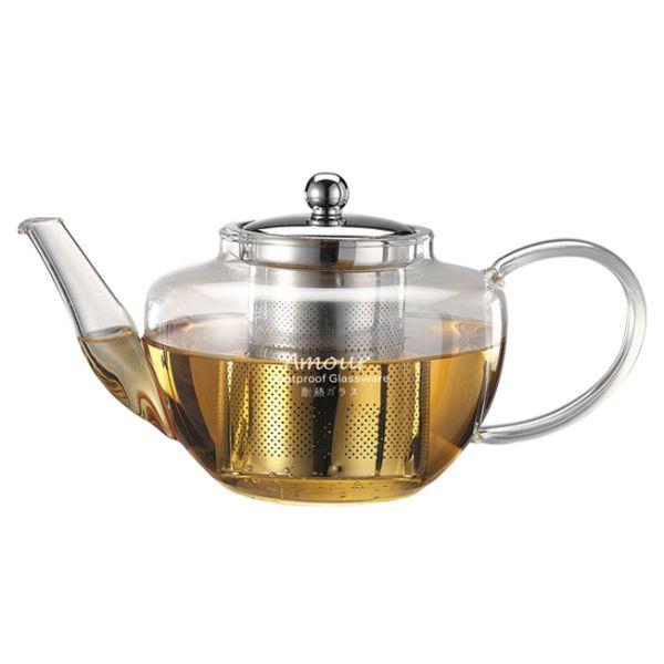 AMOUR 花茶壺-附ST濾網 750cc 通過SGS檢測 耐熱玻璃花茶壺,304不鏽鋼濾網花茶壺,花茶壺附濾網,透明玻璃花茶壺,透明玻璃咖啡壺,濾網玻璃水壺