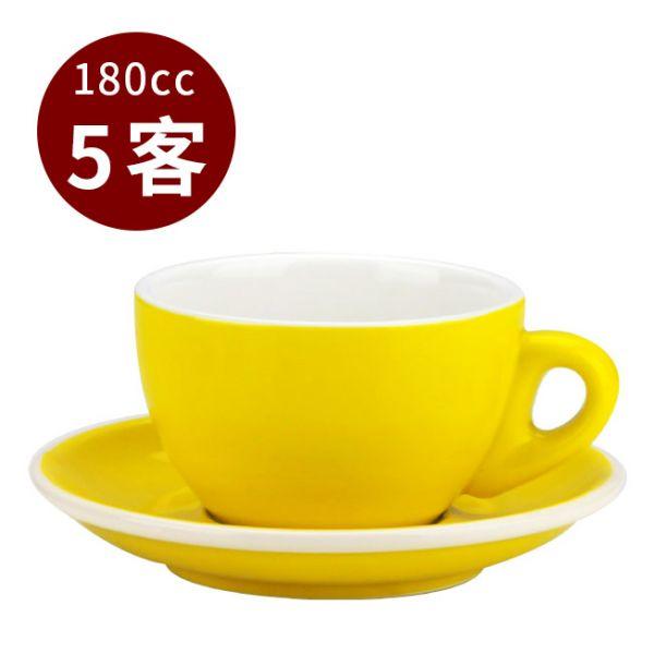 Tiamo 20號蛋形卡布杯盤組 5客 180cc 黃 馬克杯,咖啡杯,拿鐵杯,拿鐵專用杯,卡布杯,卡布奇諾專用杯,杯盤組