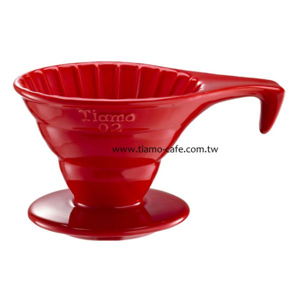 Tiamo V02長柄陶瓷咖啡濾器組 (紅) 附濾紙量匙 錐型咖啡濾杯,圓錐咖啡濾杯,V型濾杯,手沖咖啡專用濾杯