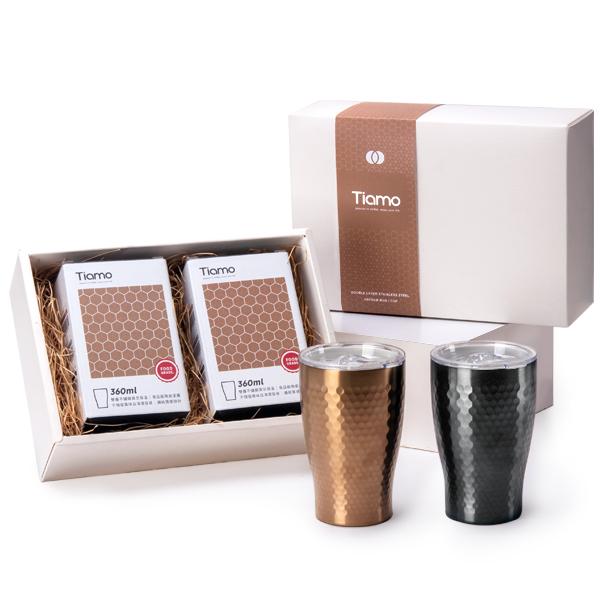 Tiamo 對杯禮盒 - 陶瓷塗層真空保溫錘紋杯 360ml 對杯禮盒,陶瓷塗層杯,真空保溫杯,錘紋杯,對杯,情人對杯,保溫杯,杯子禮盒,保溫杯禮盒,保溫瓶,隨手杯,隨行杯