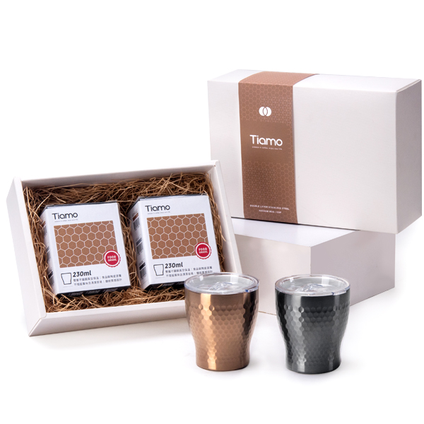 Tiamo 對杯禮盒 - 陶瓷塗層真空保溫錘紋杯 230ml 對杯禮盒,陶瓷塗層杯,真空保溫杯,錘紋杯,對杯,情人對杯,保溫杯,杯子禮盒,保溫杯禮盒,保溫瓶,隨手杯,隨行杯