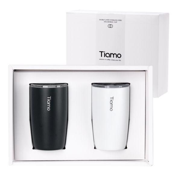 Tiamo 對杯禮盒-真空陶瓷保溫隨手杯 250ml 對杯,保溫杯,保溫瓶,隨手杯,隨行杯,雙層保溫杯,雙層不鏽鋼真空保溫杯
