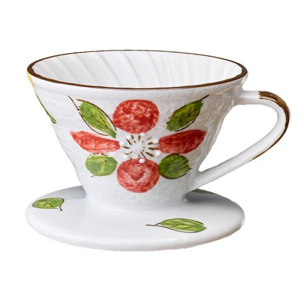 V02日式手繪陶瓷咖啡濾器 (山茶花) 錐形濾杯,V型濾杯,手沖咖啡濾杯