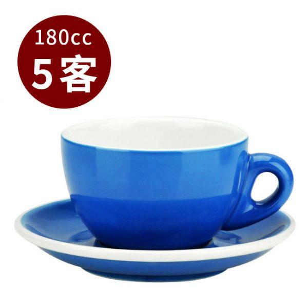 Tiamo 20號蛋形卡布杯盤組 5客 180cc藍 馬克杯,咖啡杯,拿鐵杯,拿鐵專用杯,卡布杯,卡布奇諾專用杯,杯盤組