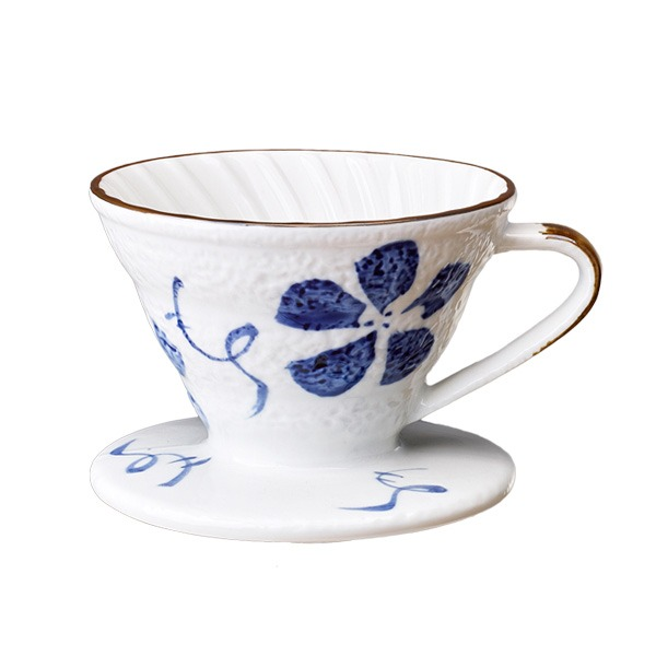 V01 日式手繪陶瓷咖啡濾器 (古染花) 錐形濾杯,V型濾杯,手沖咖啡濾杯