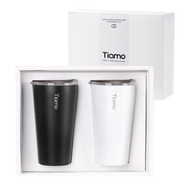 Tiamo 對杯禮盒-真空陶瓷保溫隨手杯 410ml 對杯,保溫杯,保溫瓶,隨手杯,隨行杯,雙層保溫杯,雙層不鏽鋼真空保溫杯