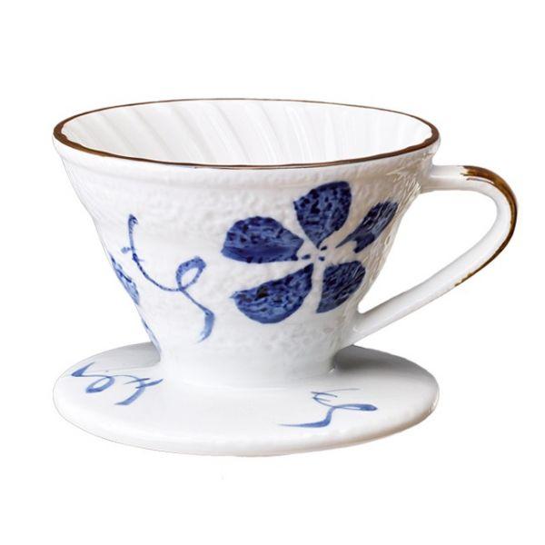 V02日式手繪陶瓷咖啡濾器 (古染花) 錐形濾杯,V型濾杯,手沖咖啡濾杯