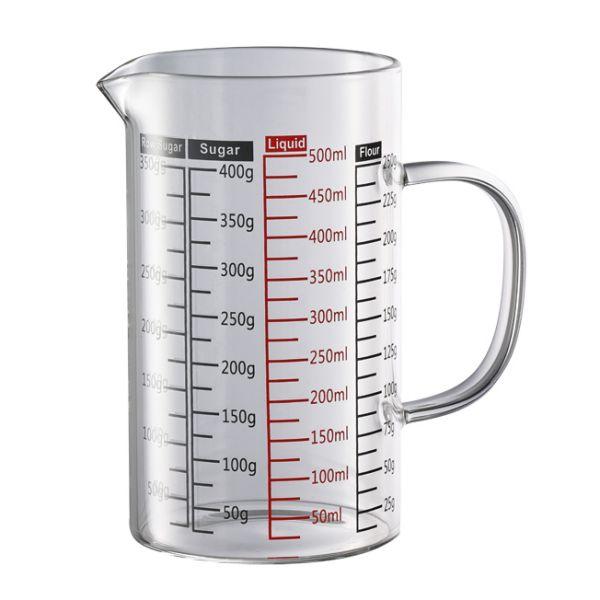 玻璃有柄量杯 500ml 玻璃量杯,液體量杯,耐熱液體玻璃量杯,測量工具,度量用具,測量量杯,刻度量杯,量杯器皿