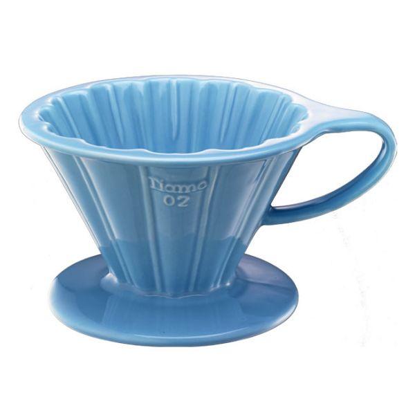 Tiamo V02花漾陶瓷咖啡濾器組 (粉藍)附濾紙量匙滴水盤 錐型咖啡濾杯,圓錐咖啡濾杯,V型濾杯,手沖咖啡專用濾杯