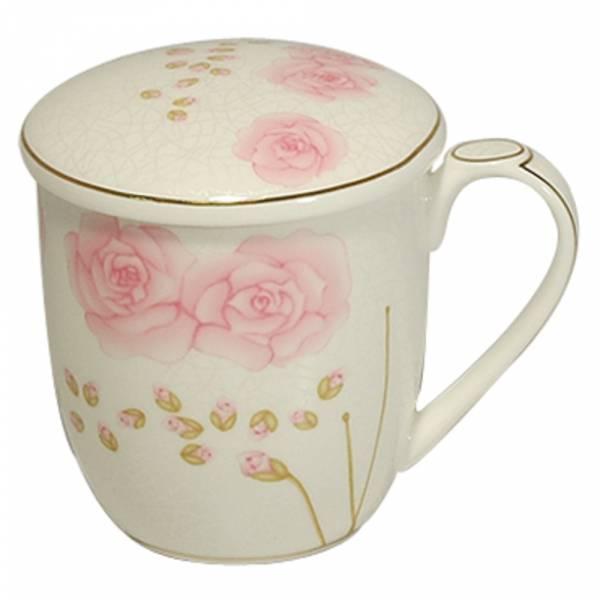 附蓋骨瓷馬克杯 咖啡杯 花茶杯 350 cc -戀戀紅薔薇 馬克杯,咖啡杯,花茶杯,茶杯,水杯,骨瓷杯