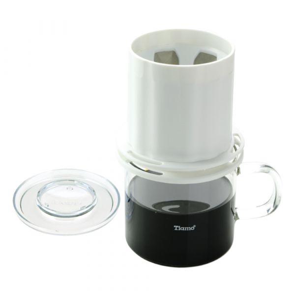 Tiamo UFO-180圓錐濾器獨享杯-白色320cc 免用濾紙 咖啡濾器獨享杯,咖啡濾杯,不鏽鋼濾網,金屬濾網,304高級不鏽鋼