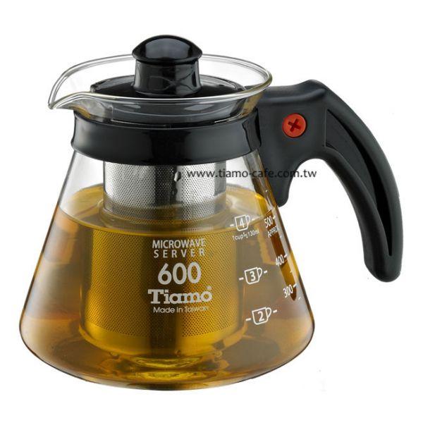 Tiamo 不鏽鋼濾網 玻璃花茶壺600cc 通過SGS檢測 花茶壺附濾網,透明玻璃花茶壺,透明玻璃咖啡壺,濾網玻璃水壺