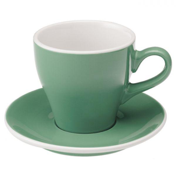 愛陶樂 Tulip 280 咖啡杯盤組280cc藍綠色 31131027 LOVERAMICS,愛陶樂,馬克杯,咖啡杯,拿鐵杯,拿鐵專用杯,卡布杯,卡布奇諾專用杯,杯盤組