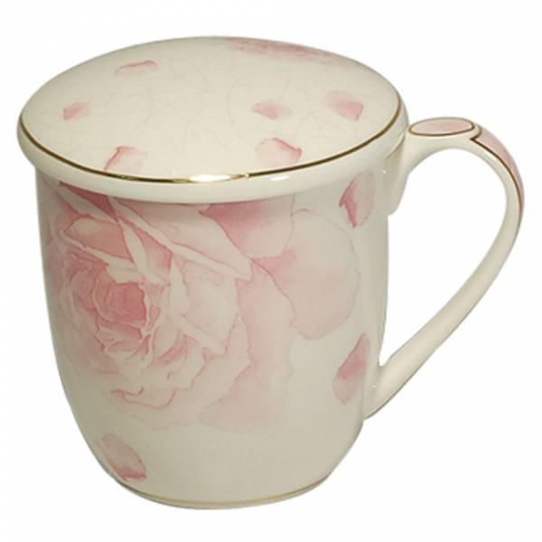 附蓋骨瓷馬克杯 咖啡杯 花茶杯 350 cc -惹火紅玫瑰 馬克杯,咖啡杯,花茶杯,茶杯,水杯,骨瓷杯