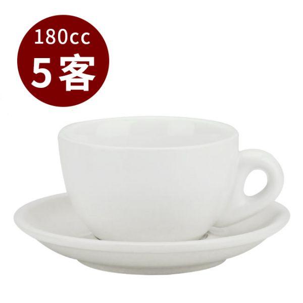 Tiamo 20號蛋形卡布杯盤組 5客 180cc 白 馬克杯,咖啡杯,拿鐵杯,拿鐵專用杯,卡布杯,卡布奇諾專用杯,杯盤組