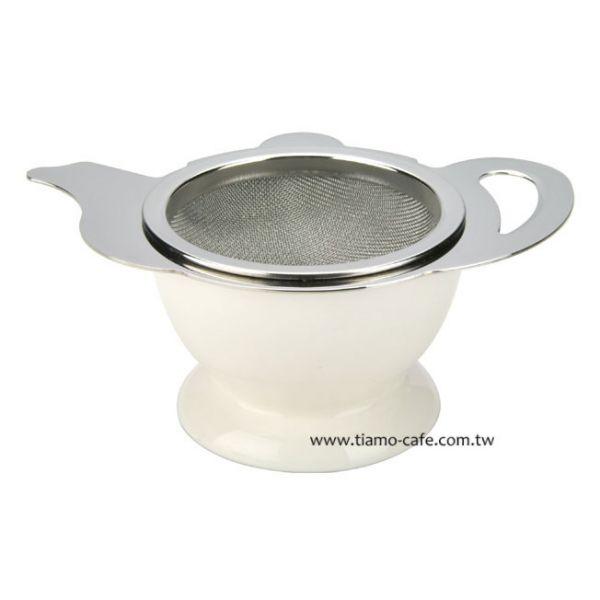 CafeDeTiamo 茶壺造型不鏽鋼杓形濾網組 (附陶瓷底座) 不鏽鋼杓形濾網組,不鏽鋼過濾網,不鏽鋼濾茶網