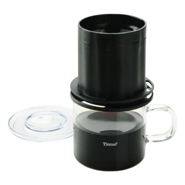 Tiamo UFO-180圓錐濾器獨享杯-黑色320cc 免用濾紙 咖啡濾器獨享杯,咖啡濾杯,不鏽鋼濾網,金屬濾網,304高級不鏽鋼