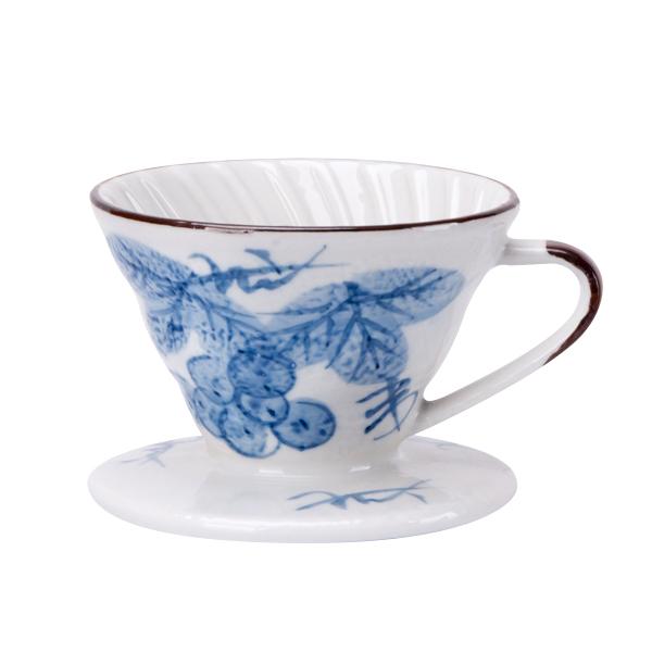 新品!V01日式手繪陶瓷咖啡濾器 - 藍染葡萄 V01日式手繪陶瓷咖啡濾器,濾杯,V60,錐形濾杯