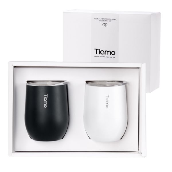 Tiamo 對杯禮盒-真空陶瓷保溫弧形杯 330ml 對杯,保溫杯,保溫瓶,隨手杯,隨行杯,雙層保溫杯,雙層不鏽鋼真空保溫杯