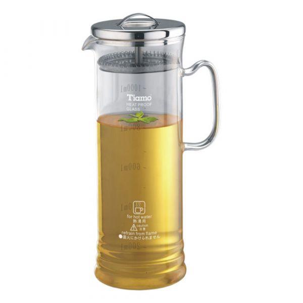 Tiamo 長型冷泡壺 玻璃壺 1000cc 長型冷泡壺,花茶壺附濾網,透明玻璃花茶壺,透明玻璃咖啡壺,濾網玻璃水壺