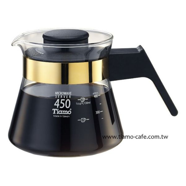 Tiamo 玻璃咖啡壺450cc 金 電木把手 通過SGS檢測 玻璃咖啡壺,玻璃茶壺,手柄玻璃壺,把手玻璃壺,耐熱玻璃壺,花茶沖泡壺