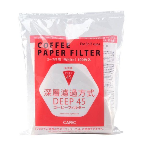 CAFEC DD-45PA 深層咖啡濾紙 3~7杯 100入漂白(袋裝) 手沖咖啡濾紙,PA深層咖啡濾紙